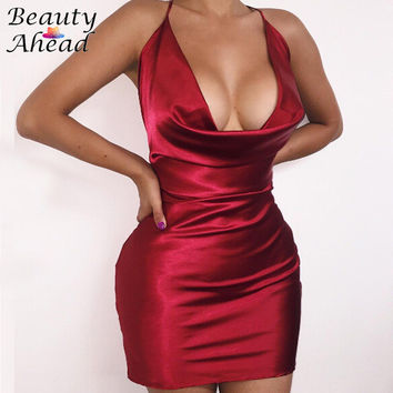 2016 Sexy New Wrap Satin Outfit Strappy V Neck Pink Party Dress Women Fashion Red Halter Bandage Spaghetti Strap Bodycon Dresses