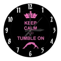 Keep calm and tumble gymnast wallclocks from Zazzle.com