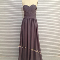 Custom Gray Chiffon Wedding Dress/Bridesmaid dress/Long Prom Dress  2014 New Arrive