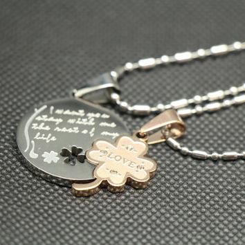 A pair of love lovers necklace,couple necklace,lovers necklace,promise necklace