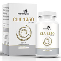 CLA 1250 mg 180 Count Highest Potency 80% Conjugated Linoleic Acid Weight Management Diet Supplement By Morning Pep, Non-GMO Fat Burner Metabolism Booster And Natural Weightloss Supplement