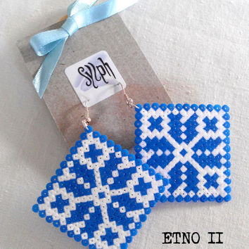 Earrings made of Hama Mini Beads - Etno II