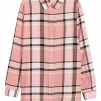 Flannel shirt - Powder pink/Checked - Ladies | H&M GB