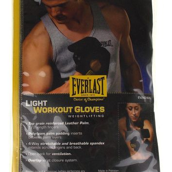 Everlast Light Workout Gloves XL Weightlifting Leather Palm Padding Spandex