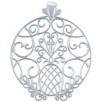 Southern Gates Circle Pineapple Scroll Pendant in Sterling Silver