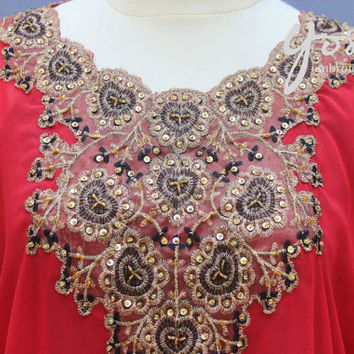 Stunning Wedding Summer Party Kaftan Gold Sequin Embroidery Dress Red Flower Pattern Caftan Blouse Dress