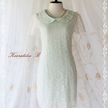 Ice Cream Lace Dress - Sweet Creamy Lace With Minty Green Flower Pattern Peter Pan Collar Short Sleeve Bandage Dress XS-S