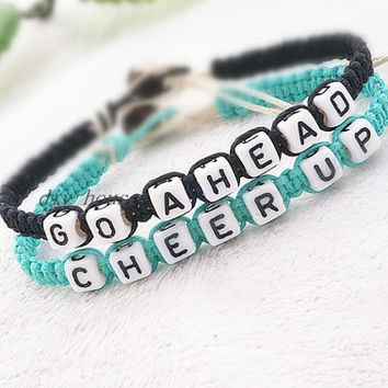 Go Ahead Bracelet, Cheer Up Bracelet, Inspirational Bracelet,Personalized Bracelets ,Word Bracelet,His Hers Bracelet,Friendship Bracelets,