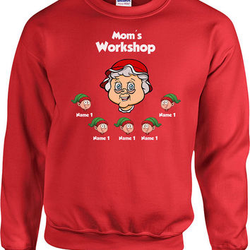 Christmas Sweater Mom's Workshop Customize Elves Names Christmas Gift Ideas Presents For Christmas Gifts For Mom Christmas Hoodie - SA498