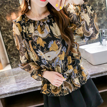 Chiffon Ruffles Floral Blouse Fashion Print Puff Long Sleeve slim Tops Blusa Feminina