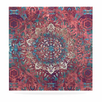 "Nina May ""Magi Mandala Rose Gold"" Coral Teal Abstract Ethnic Mixed Media Painting Luxe Square Panel"