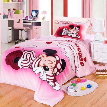 DISNEY Brand 100% Cotton Mickey Mouse Pink Duvet Cover Cartoon Bedding Set Sheet Set Single Queen Size For Children Beddings