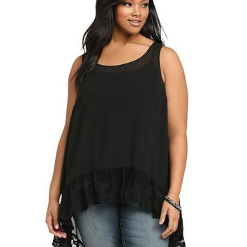 Large Size Lace Mesh Hollow Out High Low Shirt Long Loose Blouse Big Size Black Sheer Chiffon Casuall Blouses Tank Top Summer