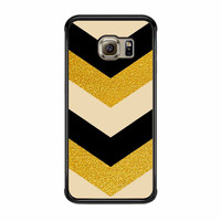 Chevron Classy Black And Gold Printed Samsung Galaxy S6 Edge Case