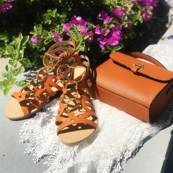 BELLE Tan Strappy Gladiator Lace Tie Up Sandal Flats