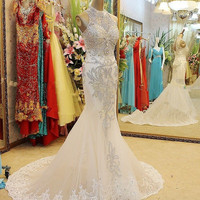 Long Train Crystal High Neck Wedding Beaded Dress Appliqués Mermaid Sequins Custom Made