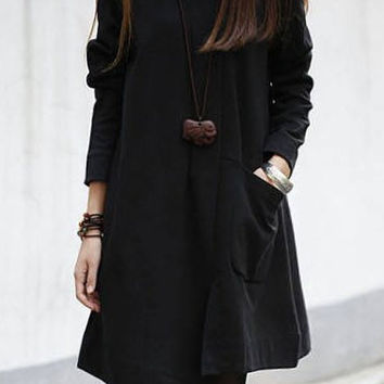 Black Long Sleeve Pocketed Asymmetric Loose Dress