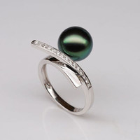 Unique Design 10mm Black Tahitian Pearl Solid 14K White Gold .25ct Diamonds Ring
