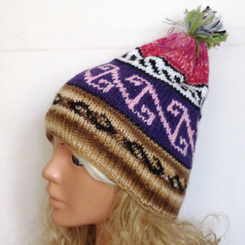 Hand Knit Hat- Womens Tribal pattern hat - Winter hat - Womens Beanie - Winter Women Hat - Slightly Slouchy Hat - Multi-color  Hat, slouch