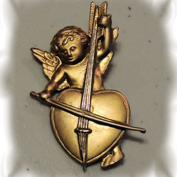 Angel Brooch, Cherub Cello pin , vintage jewelry