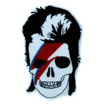 ac spbest David Bowie Skull Lightning Bolt Patch Iron on Applique Ziggy Stardust