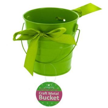 Mini Metal Craft Bucket with Ribbon ( Case of 24 )