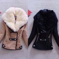 New Fashion Women's Winter Warm Slim Faux Fur Collar Coat Outwear Jacket Suit Parka = 1932172228
