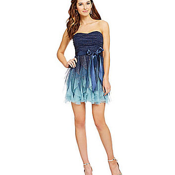 Teeze Me Strapless Ombre Corkscrew Dress