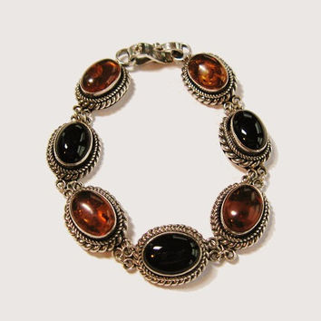 Vintage Sterling Silver Amber and Black Bracelet