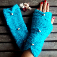 Knitted Gloves, Gloves Crochet, Turquoise, Hand Warmer,Winter Gloves,Long gloves, Knitted,Women Gloves,Arm Warmers,Gift Ideas,Christmas Gift