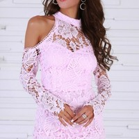 O-Neck Off Shoulder Long Sleeve Lace Hollow Out Mini Dress