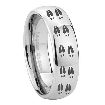 10MM Classic Mirror Dome Deer Tracks Tungsten Carbide Silver Men's Ring