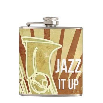 Vintage Sepia Musical Saxophone Wrapped Flask