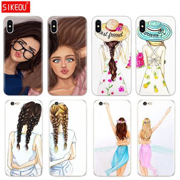 Silicone Cover Phone Case For Iphone 6 X 8 7 6s 5 5s SE Plus 10 Case Girls Brunette Blonde Best Friends BFF Matching