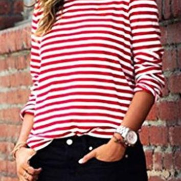 Red-White Striped Print Long Sleeve Round Neck Fall Fashion Casual T-Shirt
