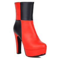 Red and Black High Heel Boots With Platform Design