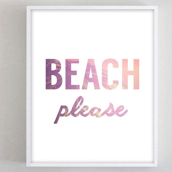Beach Please Funny Print Typography Dorm Decor Beach Ocean Tropical Teen