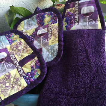 Pot Holders Set,Kitchen Accessories,Towel Set,Trivet,Hot Pad,Grapes Kitchen Towel,Wine Pot Holders,Grapes Pot Holders,Purple Kitchen Towel