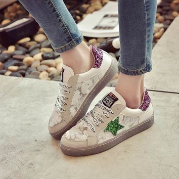 Glitter Star PU Leather Casual Women Shoes Flats 2017 New Fashion Women Vulcanize Shoe