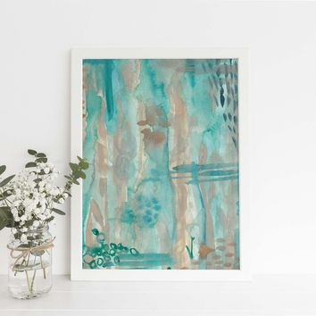 Abstract Watercolor Underwater Scene Tropical Painting Wall Art Print
