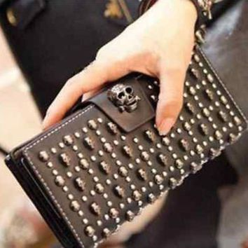 Fashion Genuine Leather Skull Punk Ladies/ Women Purse / Wallet / Clutch