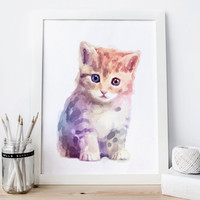 Kitten poster, kitten print, kitten decor, kitten Watercolor kitten nursery kitten Painting kitten Wall Art, cute animal kitten Printable