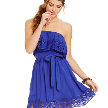 American Rag Juniors' Strapless Crochet Lace-Trim Dress