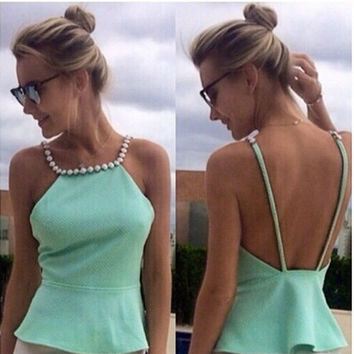 Casual Sexy Faux Pearl Beaded Neck Line Mint Green Women Tops Peplum Top Shirt Women Tops Blusas Femininas 2015 = 5613067585