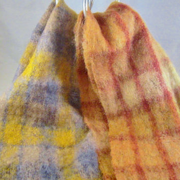 Vintage Mohair WOOL Scarf Scarves COLORFUL PLAID Higbee's