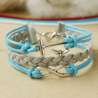 Anchor bracelet &Infinity bracelet - double sky blue and grey mixed colors combination bracelet
