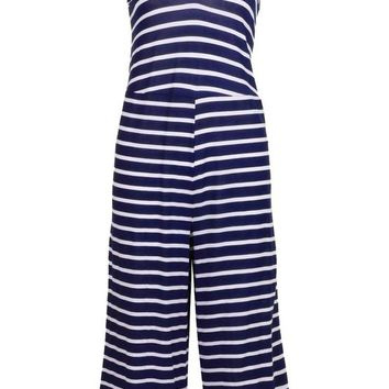 Narla Striped Culotte Jumpsuit | Boohoo