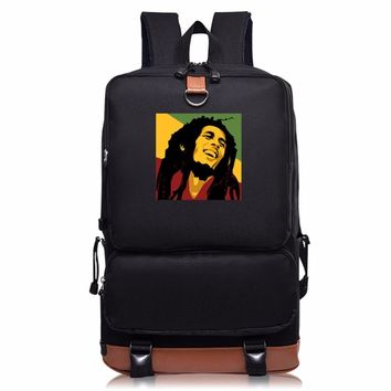 Teenagers Student Leisure Shoulders bag Bob Marley Printing men and women School Bag individuality Fashion computer backpack