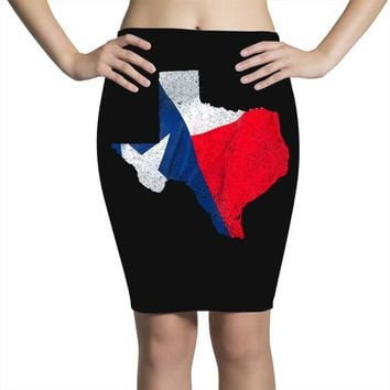 Eroded Texas Map With Flag Pencil Skirts