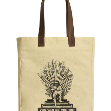 Iron Throne of Westeros Beige Printed Canvas Tote Bags Leather Handles WAS_30